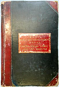 admissions register front cover
